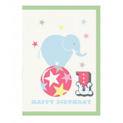 Piccalilly Multi-coloured Happy 1st Birthday Card Boy or Girl