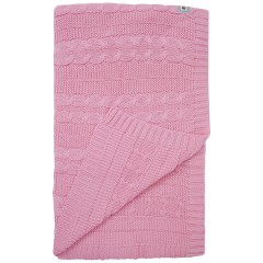 Cable Knit Blanket - Blossom Pink