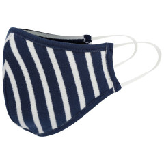 Adult Face Covering - White & Navy Stripe