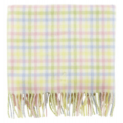 Piccalilly Unisex Merino Lambswool Shawl Blanket Pink Blue Yellow Check 75x125cm