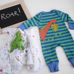 Piccalilly Organic Cotton Boys Dinosaur Playsuit, Swaddle And Toy Set