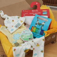 Baby Gift Box - 3 Piece Baby Outfit, Muslin & Mini Chocolate Library