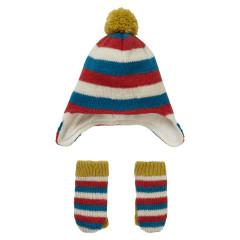 Knit Stripey Hat & Mitten Gift Set
