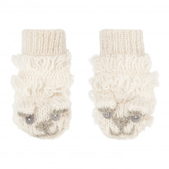 Piccalilly Kids Cream Wool Kids Mitttens