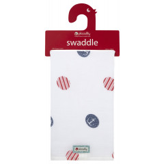 Piccalilly Classic Blue and Red Spot Muslin Swaddle