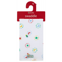 Piccalilly Organic Cotton Space Rocket Muslin Swaddle
