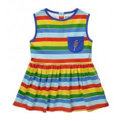 Piccalilly Organic Cotton Rainbow Stripe Dress