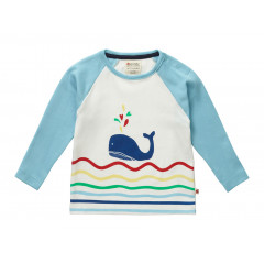 Piccalilly Organic Cotton Whale Raglan Top
