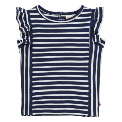 Piccalilly Navy Stripe Organic Girls Vest Top