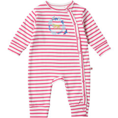 Piccalilly Pink Stripe Baby Sleepsuit