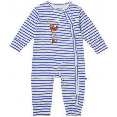 Piccalilly Blue Stripe Wrapover Baby Sleepsuit