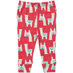 Piccalilly Baby Girls Kids Alpaca Themed Red Leggings