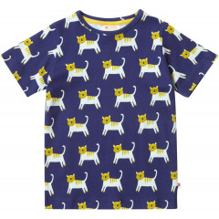 Unisex Navy Blue Tiger Themed Short Sleeve T-Shirt