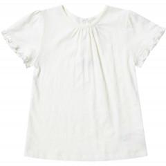Piccalilly Girls Cream Slub Short Sleeve Ruffle Top