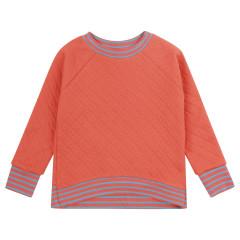 Women's Plain Spicy Orange Quilted Sweatshirt