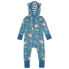 Piccalilly Blue Hooded Romper for Baby