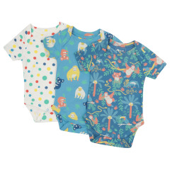Piccalilly Pack of 3 Baby Bodysuits