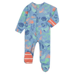 Piccalilly Blue Sealife Baby Sleepsuit