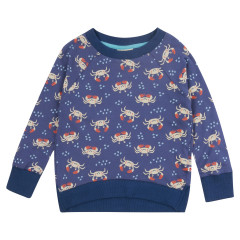 Piccalilly Blue Ocean Crab Sweatshirt for Kids