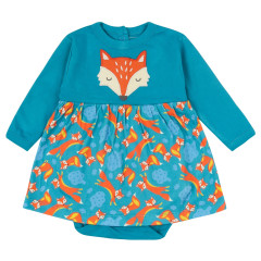 Piccalilly Teal Fox Bodysuit Dress for Baby