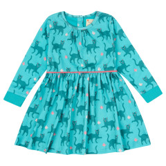 Piccalilly Teal Blue Cat Dress for Girls