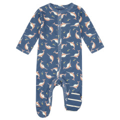 Piccalilly Narwhal Baby Sleepsuit