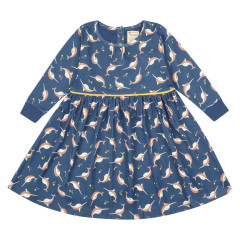 Piccalilly Blue Narwhal Dress for Girls