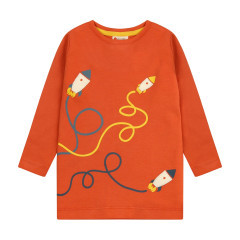 Piccalilly Spicy Orange Rocket Top for Kids