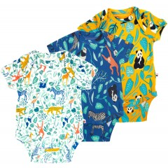 3 Pack Baby Bodysuits - Animal Adventure