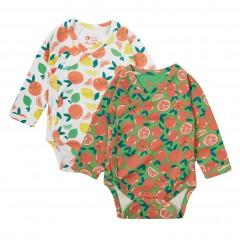 2 Pack Wrapover Bodysuits - Oranges