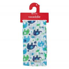 Muslin Swaddle - Blue Elephant