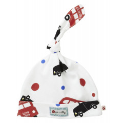 Piccalilly Organic Cotton Red Boys London Bus Print Knotted Hat