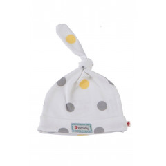 Piccalilly Organic Cotton Yellow & Grey Unisex Spotty Baby Hat