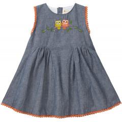 Chambray Baby Dress - Owl