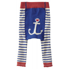 Piccalilly Organic Cotton Blue Girls Breton Footless Tights