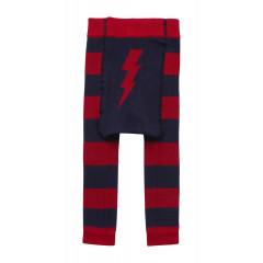 Piccalilly Organic Cotton Red & Blue Unisex Baby & Toddler Lightening Bolt Leggings