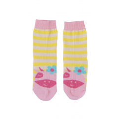 Piccalilly Organic Cotton Pink & Yellow Girls Daisy Cow Socks