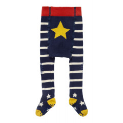 Piccalilly Baby Crawler Tights - Blue & White
