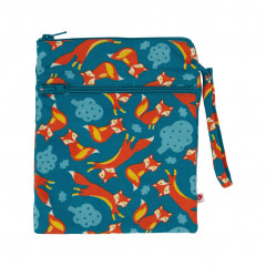 Upcycled Wet and Dry Zip Bag - Foxes