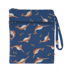 Upcycled Wet and Dry Zip Bag - Narwhal