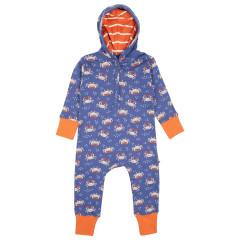 Upcyled Hooded Sleepsuit - Ocean Crab