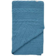 Cable Knit Blanket - Teal Blue