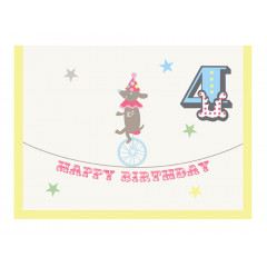 Piccalilly Multi-coloured Happy 4th Birthday Card Boy or Girl
