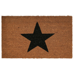 Natural Coir Doormat Black Star