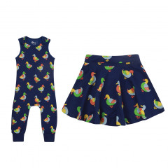 Duck Dungarees & Girls Skirt Outfit
