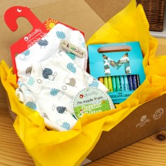 Baby Gift Box - Sleepsuit, Muslin Bib & Chocolate