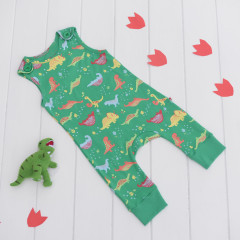 Piccalilly Organic Cotton Dinosaur Dungaree & Toy Set