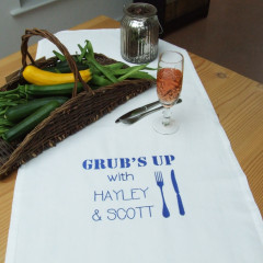Personalised 'Grub's Up' Table Runner
