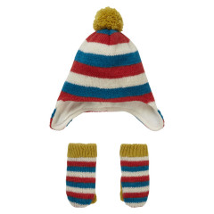 Knit Stripey Hat & Mitten Gift Set