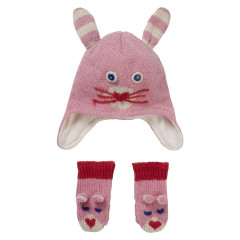 Knit Pink Bunny Hat & Mitten Gift Set